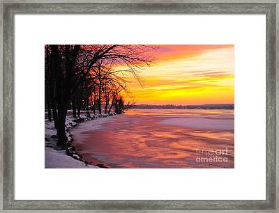 Framed Print featuring the photograph Frozen Dawn At Lake Cadillac  by Terri Gostola