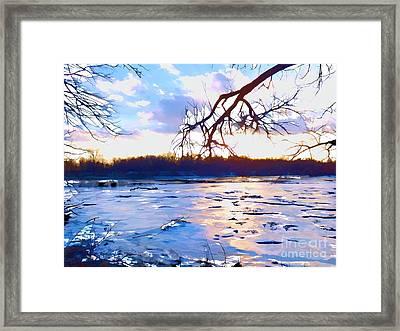 Frozen Delaware River Sunset Framed Print
