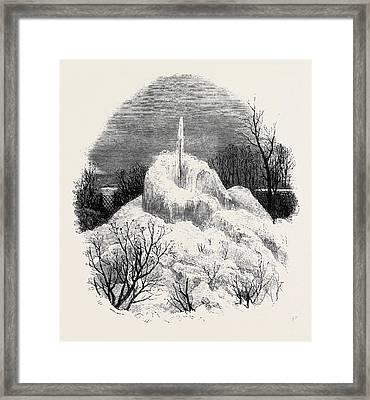 Frozen Fountain At Bamford Near Rochdale Framed Print