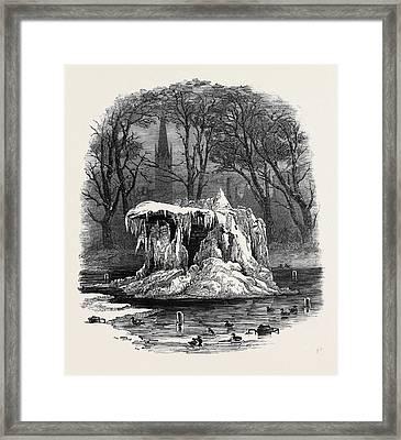Frozen Fountain, Bowling Green Framed Print by American School