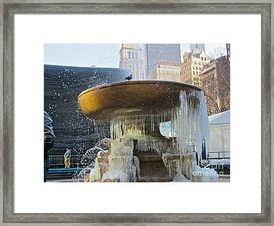 Frozen Fountain Framed Print by Maritza Melendez