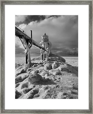 Frozen Grand Haven Lighthouse Black And White Framed Print