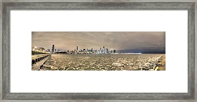 Frozen Harbor Panorama Framed Print