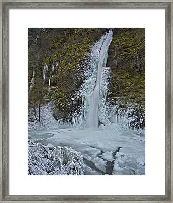 Framed Print featuring the photograph Frozen Horsetail Falls 120813a by Todd Kreuter