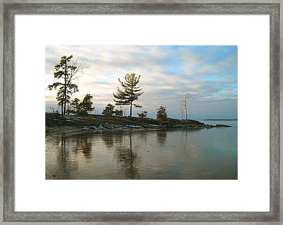 Frozen Lake At Dusk Framed Print