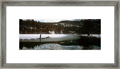 Frozen Lake In Winter In French Riviera Framed Print