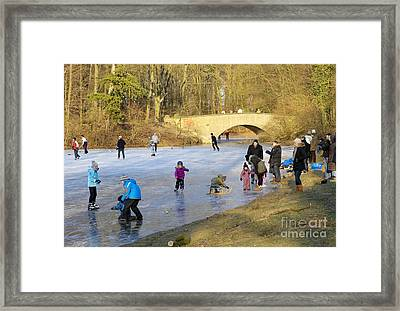 Frozen Lake Krefeld Germany Framed Print by David Davies