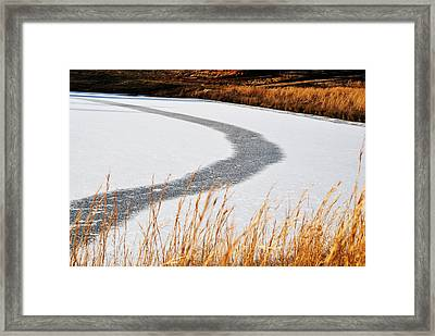 Framed Print featuring the digital art Frozen Lake by Linda Segerson