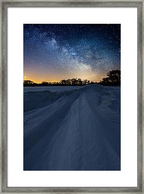 Frozen Lake Minnewaska Milky Way Framed Print