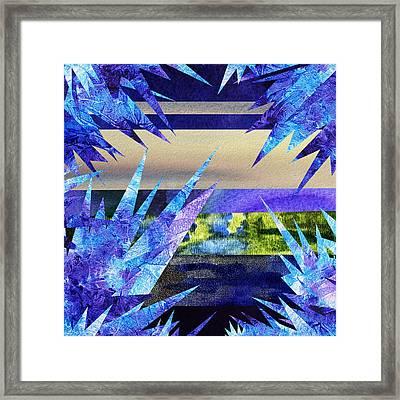 Frozen  Landscape Abstract Collage Framed Print by Irina Sztukowski