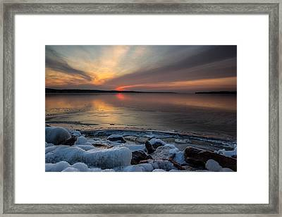 Frozen Lewis And Clark Lake Framed Print by Aaron J Groen