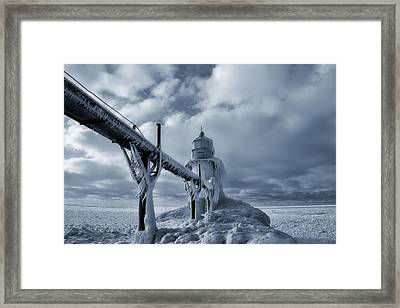 Frozen Lighthouse In Saint Joseph Michigan Framed Print