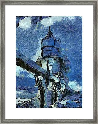 Frozen Lighthouse On Lake Michigan Framed Print by Dan Sproul
