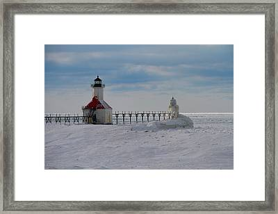 Frozen Lighthouses On Lake Michigan Framed Print