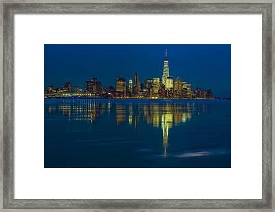 Frozen Lower Manhattan Nyc Framed Print by Susan Candelario