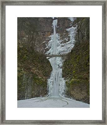 Framed Print featuring the photograph Frozen Multnomah Falls Ssa by Todd Kreuter