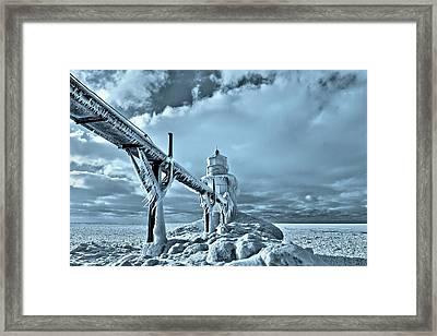 Frozen On Lake Michigan Saint Joseph Framed Print by Dan Sproul