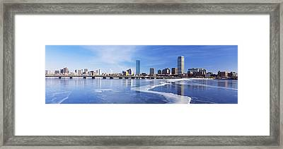 Frozen Over Charles River With Harvard Framed Print