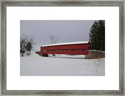 Frozen Over Marsh Creek And Sachs Covered Bridge Framed Print by Bill Cannon