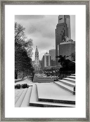 Frozen Philadelphia Framed Print by Bill Cannon