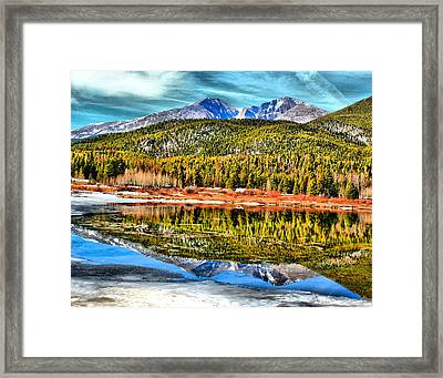 Frozen Reflection On Lily Lake Framed Print by Rebecca Adams