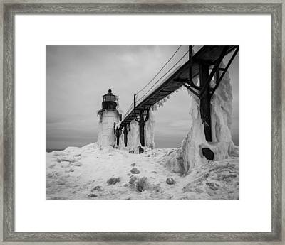 Frozen St. Joseph Lighthouse Framed Print