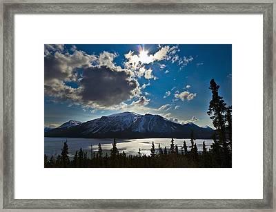 Frozen Tagish Lake And Mountains Framed Print by Blake Kent