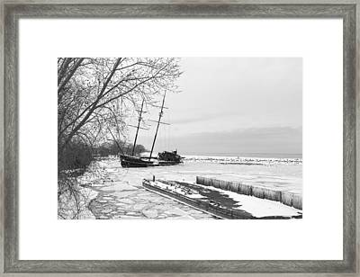 Frozen Tall Ship Framed Print by Nick Mares