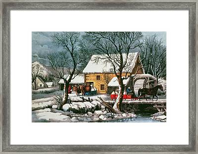 Frozen Up Framed Print by Currier and Ives
