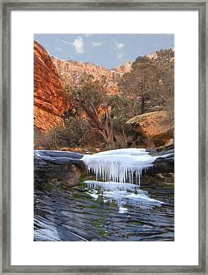 Frozen Waterfall Framed Print by Alan Socolik
