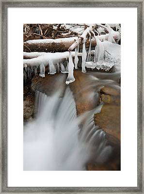 Frozen Waterfall In Valley Martelltal Framed Print