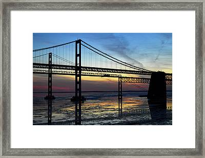 Framed Print featuring the photograph Frozen Waters Under The Bay Bridge by Bill Swartwout