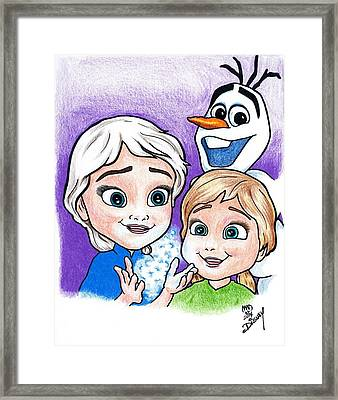 Frozen Young Anna And Young Elsa Framed Print