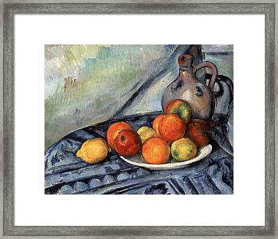 Fruit And A Jug On A Table Framed Print