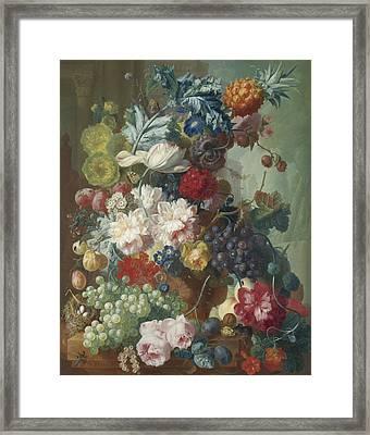 Fruit And Flowers In A Terracotta Vase Framed Print