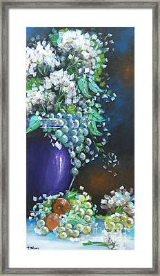 Framed Print featuring the painting Fruit And Flowers Still Life by Patrice Torrillo