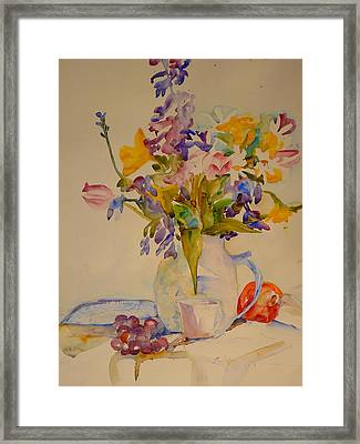 Fruit And Flowers Framed Print by Valerie Lynch