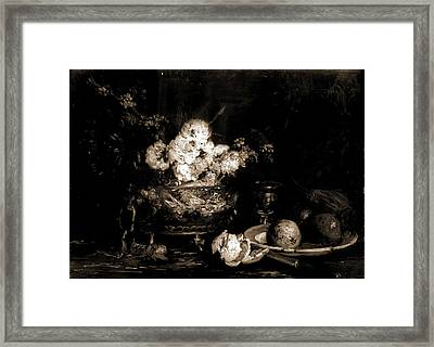Fruit And Flowers, Vollon, Antoine, 1833-1900 Framed Print by Litz Collection