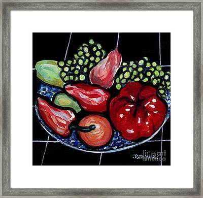 Framed Print featuring the painting Fruit And Peppers by Joyce Gebauer