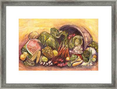 Fruit And Veggie Basket Framed Print by Jodie  Scheller