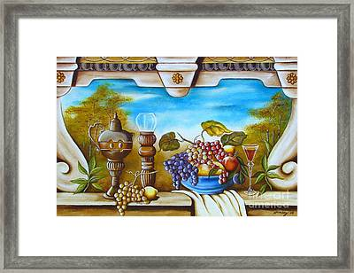 Framed Print featuring the painting Fruit And Vino by Joseph Sonday