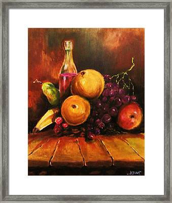 Framed Print featuring the painting Fruit And Wine by Al Brown