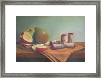 Fruit And Wine Corks Framed Print by Ellen Minter