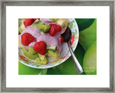 Fruit And Yogurt - Dessert - Food  Framed Print