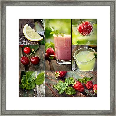 Fruit Drinks Collage Framed Print by Mythja Photography