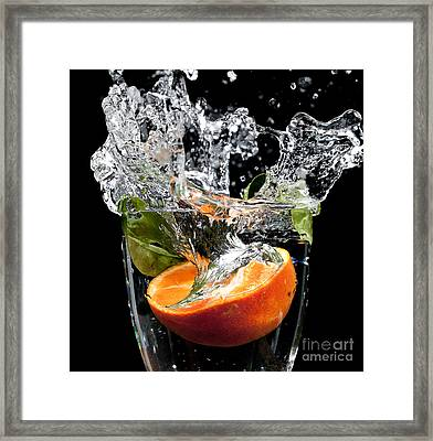 Fruit Drop With Big Splash Framed Print by Simon Bratt Photography LRPS