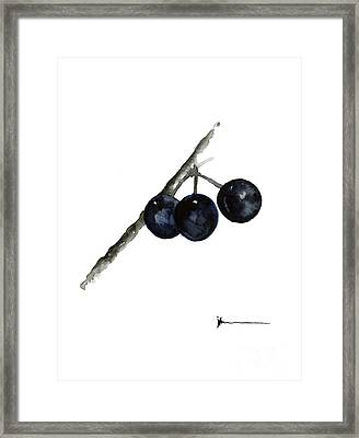 Fruit Huckleberry Watercolor Art Print Painting Framed Print
