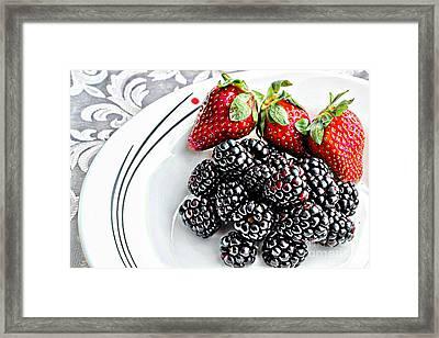 Fruit I - Strawberries - Blackberries Framed Print by Barbara Griffin