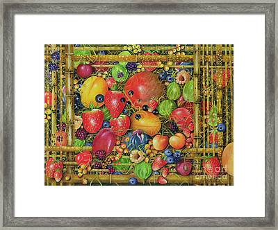Fruit In Bamboo Box Framed Print by EB Watts