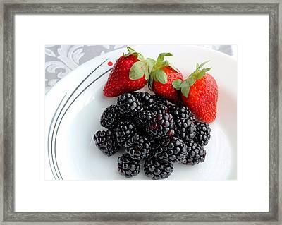 Fruit Iv - Strawberries - Blackberries Framed Print by Barbara Griffin